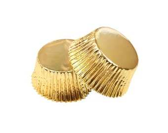 Gold Foil Baking Cupcake Liner Cups - 36 Standard Size Liners - Baking, Craft and Party Supplies