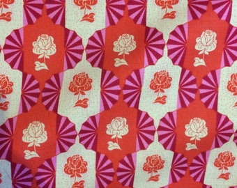 SALE Anna Maria Horner Dowry, Dresden Bulbs in Rose   , Quilting Cotton Fabric Canada/ half yard