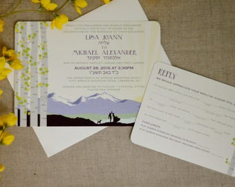 Longs Peak Colorado Mountain with BirchTrees Purple and Yellow 5x7 Wedding Invitation with RSVP Postcard