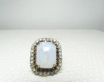 Chunky Moonstone Ring With Purple Rhinestones And Shiny Silver Tone Setting / Vintage Adjustable Ring