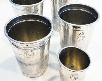 Aluminum Knight Helmet Tumblers Drinkware  Lot of 4 Matching Jigger Cup Barware Mid Century Home Decor