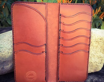 In Stock: Chestnut Brown Veg Tan Leather Bifold Gentleman's Tall / Jacket Wallet