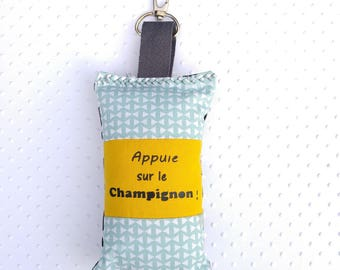 Key holder - accessory bag - fabric of yellow - green water/white and black/white geometric patterns