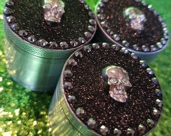 Customised Glitter Skull Herbal Mini Grinder