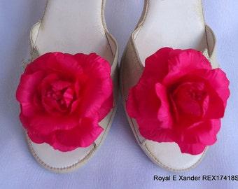 Rose Shoe Clips, Shoe Jewelry, Cerise Shoe Clips, Shoe Embellishments, REX17418