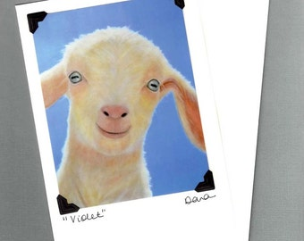 Goat Card - White Baby Goat Card - Goat Art - Postcard Greeting Card Combination - Proceeds Benefit Animal Rescue