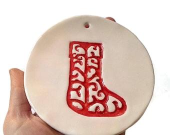 Set of 3 stocking ornament, Christmas ornaments, stocking decoration, clay ornament, red stocking Christmas, ornaments for tree decor,