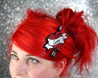 Love Heart Hair Clip, Cupid Heart, Arrow and Banner Tattoo Style Hairclip