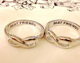 SET OF 2 Same Day Shipping Infinity Ring, best friends ring Infinity Sister, Best Friends, Sisters Infinity ring, Forever Friends Ring