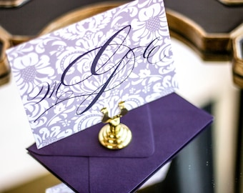 "Purple Monogram Stationery, Classic Thank You Card, Elegant Stationery, Notecard - ""Classic Romance"" Flat Personalized Stationery - DEPOSIT"