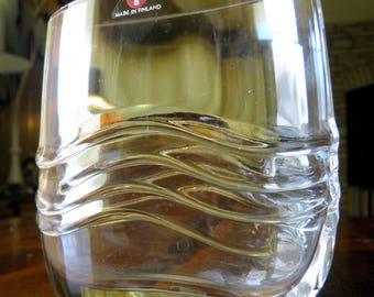 """RARE Mid Century Iittala (Finland) """"Wave"""" Glass Vase--Original Sticker--4"""" High x 3-3/4"""" Wide x 1-1/2"""" Deep"""