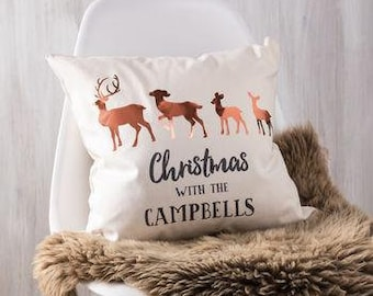Personalised Copper Christmas Family Deer Cushion Pillow