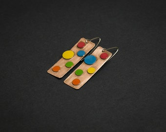 Polka dot earrings Colorful funky earrings Rainbow earrings Funky jewelry Geometric earrings Rainbow jewelry Rectangle earrings Contemporary