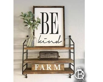 Be Kind Framed Wood Sign
