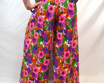 Vintage 70s WOW Neon Psychedelic Party Bell Bottoms Wrap Pants