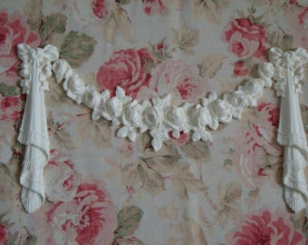 New! Shabby Chic Large Rose Swag Bow Drops Drape Fringe Furniture Applique Onlay