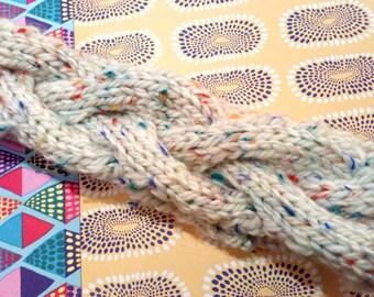 Cream and Multi-coloured Fleck Cable Knit Headband