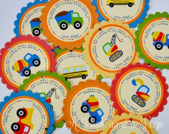 Construction Truck Favor Tags or Stickers - Set of 12 Birthday Party Baby Shower Decoration