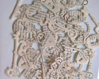 Steampunk Paper keys / locks / confetti / table confetti for weddings parties (pack of 180)