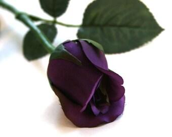 1 Grape Purple Princess Rose Bud - Barely Blooming - Artificial Flowers, Silk Roses - PRE-ORDER