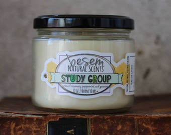 Beeswax Candle // Study Group, rosemary, peppermint, all natural, essential oil blend, tallow beeswax aromatherapy candle