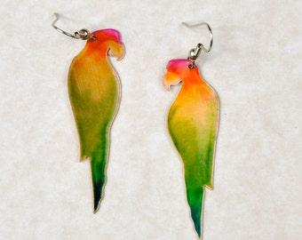 Rainbow Parrot Copper Earrings, Animal Jewelry, Animal Earrings, Bird Jewelry, Handmade Jewelry, Parrot Head Jewelry, Parrot art