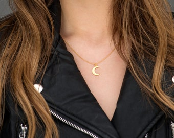 Crescent Moon Necklace, Moon Necklace, Gold Moon Necklace, Sterling Silver Moon Necklace, Gold Crescent Necklace, Tiny Half Moon Necklace