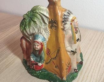 Vintage Teepee Ceramic with smoking chimney
