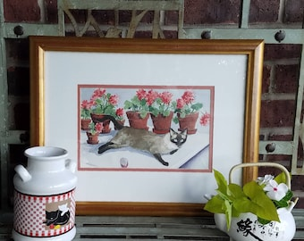 Original Watercolor Painting of a Siamese Cat with Geraniums by Texas Artist Sarah Hairgrove