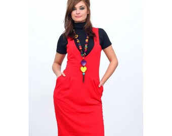 Red pinafore, Pinafore dress, Summer red dress, Maxi pinafore, Sleevles dress, Red dress, Office dress