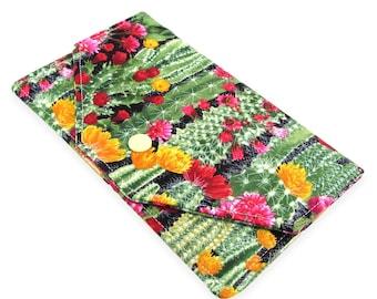 Cactus Succulent Cash Envelope Wallet - Fabric Checkbook Holder - Makes A Great Budget Wallet - Lightweight, Slim Design
