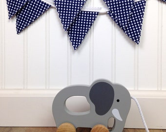 Nursery Bunting Fabric Bunting Baby Shower Bunting Banner Garland Baby Boy Nursery Decor Navy Blue Gingham