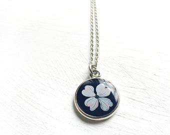 Dogwood Flower Silver Necklace