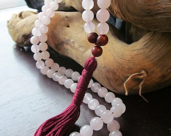 Rose Quartz and Rosewood Mala, 108 Bead Mala, Meditation Beads, Buddhist Prayer Beads, Yoga Mala Necklace