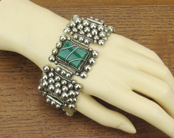 BIG and Chunky Sterling Silver Chrysoprase Bracelet Vintage Mexico jewelry heavy 925 larger size