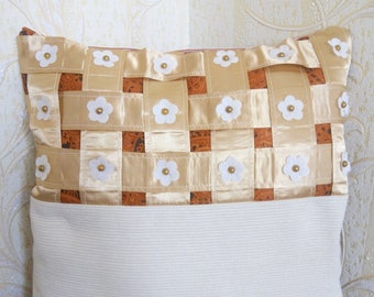 Decorative pillowcase for cushions. Pillow with embroidery, lace, braid.