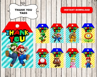 Super Mario Bros Thank you Tags instant download , Super Mario Bros Thank you Tags, Printable Mario Bros party tags