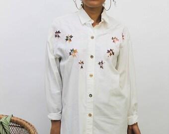 1990s Off-White Embellished Shirt Size UK 12, US 8, EU 40