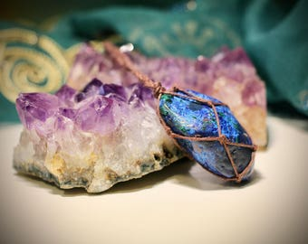 African Azurite Hemp Wrapped Necklace