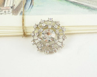 Round Crystal Silver Rhinestone Button - Art Deco (30mm, 1pc)