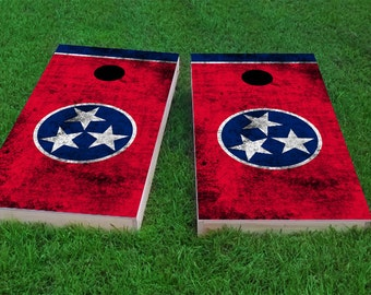 Worn State Flag (Tennessee) 1x4 Regulation Size Custom Cornhole Board Game Set - Corn Hole - Bag Toss
