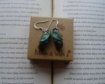 Pretty Labradorite Leaf  Earrings