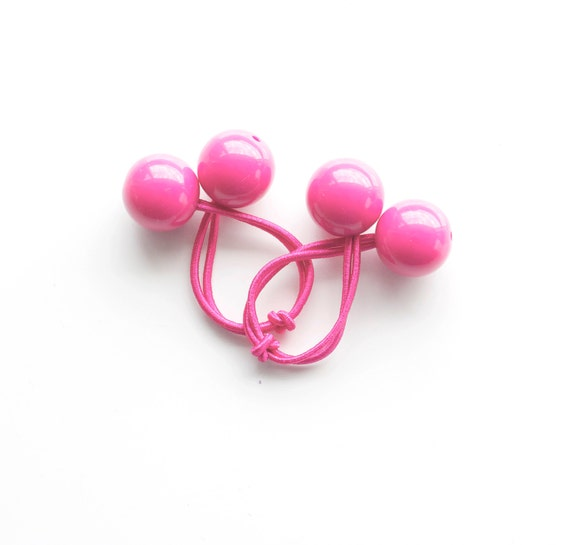 PINK FUCHSIA Hair ties. Elastic hair ties. Funky. Pink. Retro style hair bobbles. Bubble Gum hair ties.