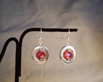 Red Crystal Earrings, Red and Silver Earrings, Rondelle Earrings, Red Faceted Crystal Earrings, Red and Silver Earrings, Bright Earrings,