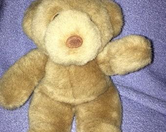 "Vintage Commonwealth Bear plush Beige 10"" brown Velour Nose 1990 ECU"