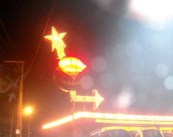 "Kenosha, Wisconsin, mid-century neon sign photography, drive-in, night, arrow, vintage roadside, Americana, yellow, red- ""Big Star Drive-In"""