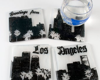 Greetings from Los Angeles Skyline Coasters - Made to order