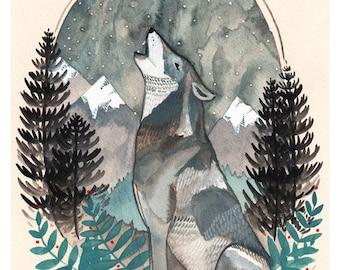 Art - Art Print - Wolf Art - Wolf Art Print - Wolf Illustration - Nature Art - 8x10 Art Print - Nature Art Print - Northwest Art - Howling