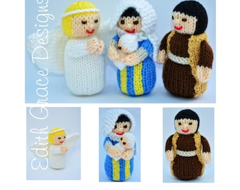 Nativity Toy Knitting Pattern, Knitted Nativity, Jesus Doll, Virgin Mary, Christmas Doll Knitting Pattern, Knitted Doll, Rag Doll Pattern