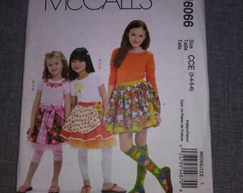 6066 McCalls Girl Child's skirt Pattern, UNCUT, Size 3-4-5-6, Pattern